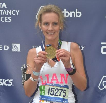 Lian Lockert runs the New York Marathon